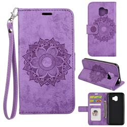 Embossing Retro Matte Mandala Flower Leather Wallet Case for Samsung Galaxy J2 Pro (2018) - Purple
