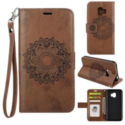 Embossing Retro Matte Mandala Flower Leather Wallet Case for Samsung Galaxy J2 Pro (2018) - Brown
