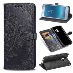 Embossing Imprint Mandala Flower Leather Wallet Case for Samsung Galaxy J2 Pro (2018) - Black