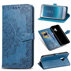 Embossing Imprint Mandala Flower Leather Wallet Case for Samsung Galaxy J2 Pro (2018) - Blue