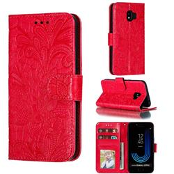 Intricate Embossing Lace Jasmine Flower Leather Wallet Case for Samsung Galaxy J2 Pro (2018) - Red