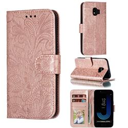 Intricate Embossing Lace Jasmine Flower Leather Wallet Case for Samsung Galaxy J2 Pro (2018) - Rose Gold