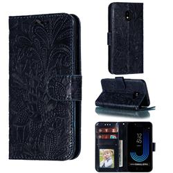 Intricate Embossing Lace Jasmine Flower Leather Wallet Case for Samsung Galaxy J2 Pro (2018) - Dark Blue