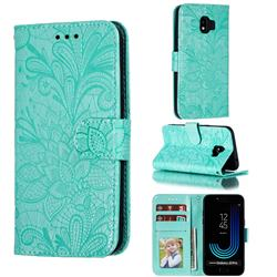 Intricate Embossing Lace Jasmine Flower Leather Wallet Case for Samsung Galaxy J2 Pro (2018) - Green