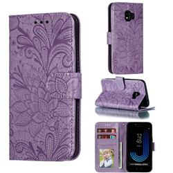 Intricate Embossing Lace Jasmine Flower Leather Wallet Case for Samsung Galaxy J2 Pro (2018) - Purple