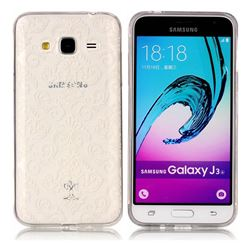 White Lace Flowers Super Clear Soft TPU Back Cover for Samsung Galaxy J3 2016 J320