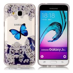 Blue Butterfly Flower Super Clear Soft TPU Back Cover for Samsung Galaxy J3 2016 J320
