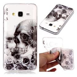 Black Flower Skull Super Clear Soft TPU Back Cover for Samsung Galaxy J3 2016 J320