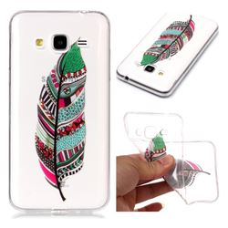 Green Feathers Super Clear Soft TPU Back Cover for Samsung Galaxy J3 2016 J320
