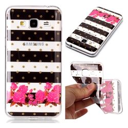 Striped Flowers Super Clear Soft TPU Back Cover for Samsung Galaxy J3 2016 J320