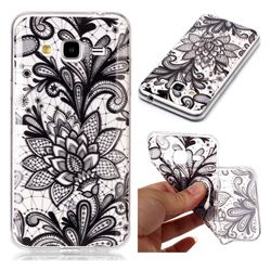 Black Rose Super Clear Soft TPU Back Cover for Samsung Galaxy J3 2016 J320