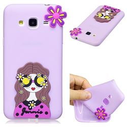 Violet Girl Soft 3D Silicone Case for Samsung Galaxy J3 2016 J320