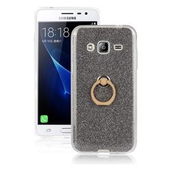 Luxury Soft TPU Glitter Back Ring Cover with 360 Rotate Finger Holder Buckle for Samsung Galaxy J3 2016 J320 - Black