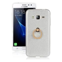 Luxury Soft TPU Glitter Back Ring Cover with 360 Rotate Finger Holder Buckle for Samsung Galaxy J3 2016 J320 - White