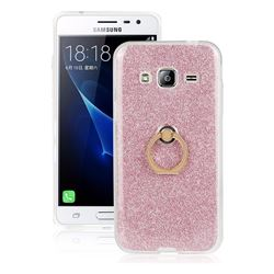 Luxury Soft TPU Glitter Back Ring Cover with 360 Rotate Finger Holder Buckle for Samsung Galaxy J3 2016 J320 - Pink
