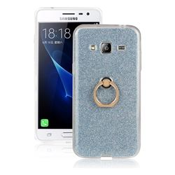 Luxury Soft TPU Glitter Back Ring Cover with 360 Rotate Finger Holder Buckle for Samsung Galaxy J3 2016 J320 - Blue