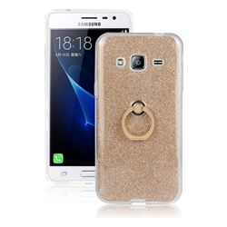 Luxury Soft TPU Glitter Back Ring Cover with 360 Rotate Finger Holder Buckle for Samsung Galaxy J3 2016 J320 - Golden