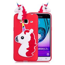 Unicorn Soft 3D Silicone Case for Samsung Galaxy J3 2016 J320 - Red