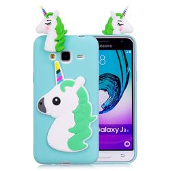 Unicorn Soft 3D Silicone Case for Samsung Galaxy J3 2016 J320 - Baby Blue