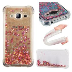 Dynamic Liquid Glitter Sand Quicksand TPU Case for Samsung Galaxy J3 2016 J320 - Rose Gold Love Heart