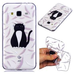 Feather Black Cat Super Clear Soft TPU Back Cover for Samsung Galaxy J3 2016 J320