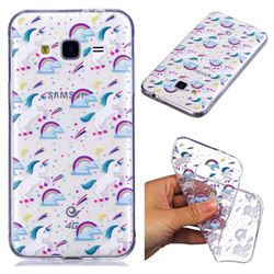 Rainbow Running Unicorn Super Clear Soft TPU Back Cover for Samsung Galaxy J3 2016 J320