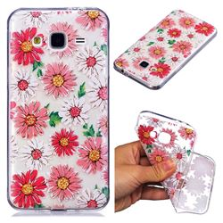 Chrysant Flower Super Clear Soft TPU Back Cover for Samsung Galaxy J3 2016 J320