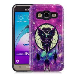 Starry Campanula Owl Pattern 2 in 1 PC + TPU Glossy Embossed Back Cover for Samsung Galaxy J3 2016 J320
