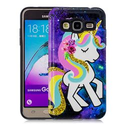 Rainbow Horse Pattern 2 in 1 PC + TPU Glossy Embossed Back Cover for Samsung Galaxy J3 2016 J320