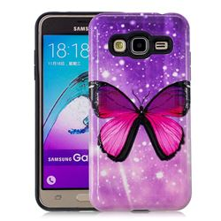 Glossy Butterfly Pattern 2 in 1 PC + TPU Glossy Embossed Back Cover for Samsung Galaxy J3 2016 J320