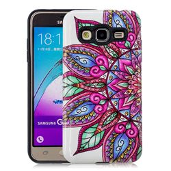 Mandara Flower Pattern 2 in 1 PC + TPU Glossy Embossed Back Cover for Samsung Galaxy J3 2016 J320