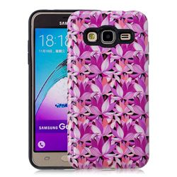 Lotus Flower Pattern 2 in 1 PC + TPU Glossy Embossed Back Cover for Samsung Galaxy J3 2016 J320