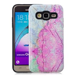 Pink Marble Pattern 2 in 1 PC + TPU Glossy Embossed Back Cover for Samsung Galaxy J3 2016 J320