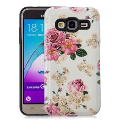 Rose Flower Pattern 2 in 1 PC + TPU Glossy Embossed Back Cover for Samsung Galaxy J3 2016 J320