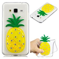 Yellow Pineapple Liquid Quicksand Soft 3D Cartoon Case for Samsung Galaxy J3 2016 J320
