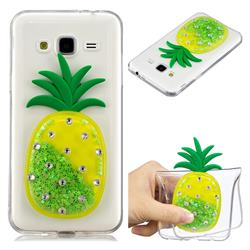 Green Pineapple Liquid Quicksand Soft 3D Cartoon Case for Samsung Galaxy J3 2016 J320