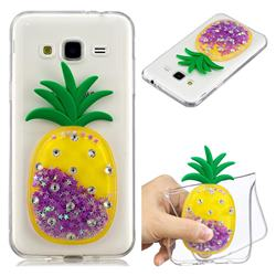 Purple Pineapple Liquid Quicksand Soft 3D Cartoon Case for Samsung Galaxy J3 2016 J320