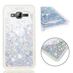 Dynamic Liquid Glitter Quicksand Sequins TPU Phone Case for Samsung Galaxy J3 2016 J320 - Silver