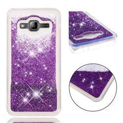 Dynamic Liquid Glitter Quicksand Sequins TPU Phone Case for Samsung Galaxy J3 2016 J320 - Purple