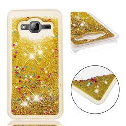 Dynamic Liquid Glitter Quicksand Sequins TPU Phone Case for Samsung Galaxy J3 2016 J320 - Golden
