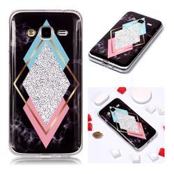 Black Diamond Soft TPU Marble Pattern Phone Case for Samsung Galaxy J3 2016 J320