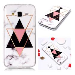 Inverted Triangle Black Soft TPU Marble Pattern Phone Case for Samsung Galaxy J3 2016 J320