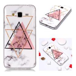 Inverted Triangle Powder Soft TPU Marble Pattern Phone Case for Samsung Galaxy J3 2016 J320
