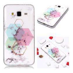 Hexagonal Soft TPU Marble Pattern Phone Case for Samsung Galaxy J3 2016 J320