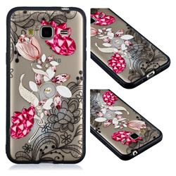 Tulip Lace Diamond Flower Soft TPU Back Cover for Samsung Galaxy J3 2016 J320