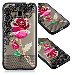 Rose Lace Diamond Flower Soft TPU Back Cover for Samsung Galaxy J3 2016 J320