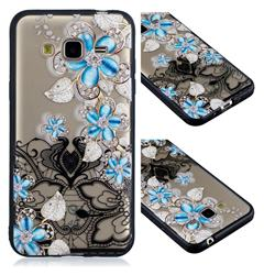 Lilac Lace Diamond Flower Soft TPU Back Cover for Samsung Galaxy J3 2016 J320