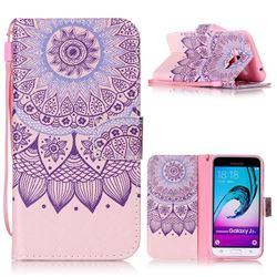 Purple Sunflower Leather Wallet Phone Case for Samsung Galaxy J3