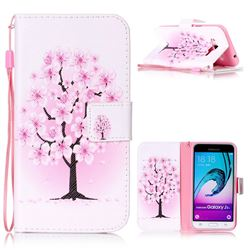 Peach Flower Leather Wallet Phone Case for Samsung Galaxy J3
