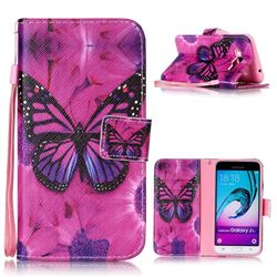 Black Butterfly Leather Wallet Phone Case for Samsung Galaxy J3